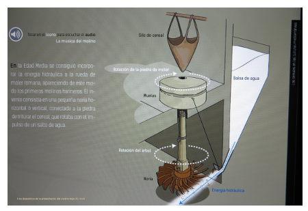Una diapositiva de la presentación electrónica del Molino Bajo, por Ivvis